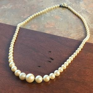 Vintage 50s 60s Faux Pearl Necklace Cream Ivory